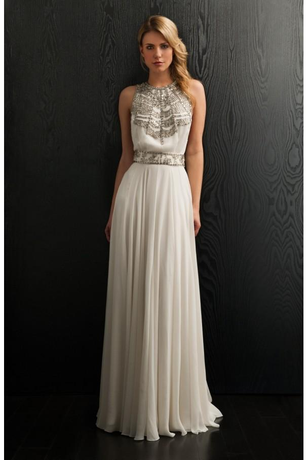 Amanda Wakeley White And Silver Silk Satin With Metal Embellishments  Cleopatra Feminine Wedding Dress Size 0
