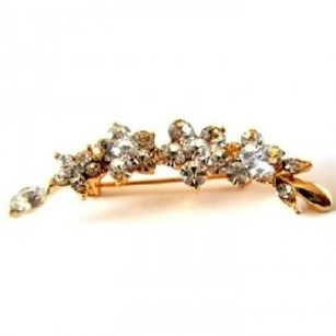 Gold Clear Amazing Holiday Plated Crystals Flower Brooch/Pin