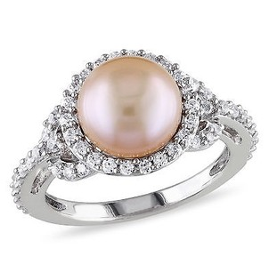 Amour 1 Ct White Cubic Zirconia - Mm Pink Freshwater Pearl Fashion Ring Silver