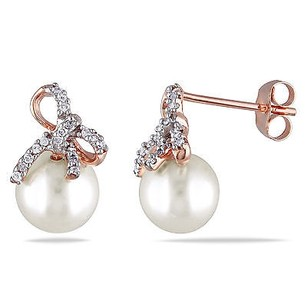 Amour 10k Rose Pink Gold Pearl And 110 Ct Tdw Diamond Bow Stud Earrings H-i I2-i3