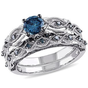 Amour 10k White Gold 1 Ct Tdw Blue Diamond Bridal Ring Set