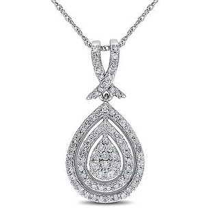 Amour 10k White Gold 12 Ct Tdw Diamond Halo Teardrop Pendant Necklace G-h I2-i3 17