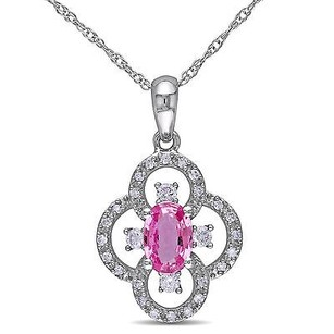 Amour 10k White Gold 16 Ct Tdw Diamond Pink Sapphire Pendant Necklace G-h I1-i2 17