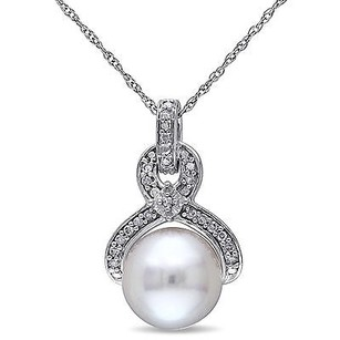 Amour 10k White Gold 9-10 Mm Pearl And 110 Ct Tdw Diamond Drop Pendant Necklace 17