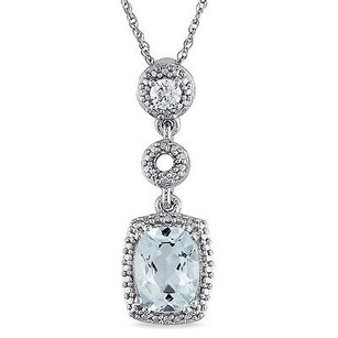 Amour 10k White Gold Aquamarine And 110 Ct Tdw Diamond Pendant Necklace G-h I1-i2 17