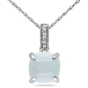 Amour 10k White Gold Day Light Blue Chalcedony And Diamond Accent Pendant Necklace 17