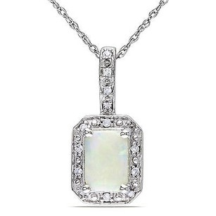 Amour 10k White Gold Opal And Diamond Pendant Necklace 17