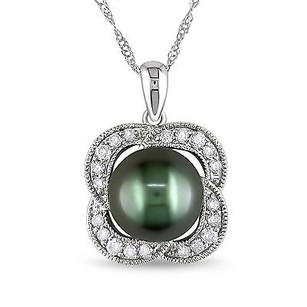 Amour 10k White Gold Tahitian Pearl 14 Ct Tw Diamond Flower Pendant Necklace 17