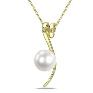 Amour 10k Yellow Gold White Freshwater Pearl Fashion Pendant Necklace 6.5-7 Mm 17