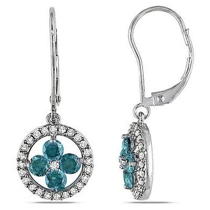 Amour 14k White Gold 1 Ct Tdw Blue White Diamond Dangleleverback Earrings H-i I1-i2