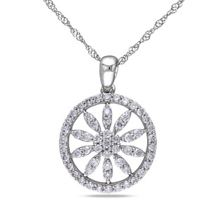 Amour 14k White Gold 12 Ct Tdw Diamond Flower Circle Pendant Necklace G-h I1-i2 17