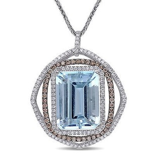 Amour 14k White Gold Aquamarine 14 Ct Tdw Brown Diamond Pendant G-h Si1-si2 17