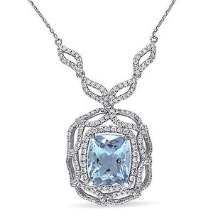Amour 14k White Gold Aquamarine And 110 Ct Tdw Diamond Pendant G-h Si1-si2 17