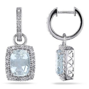 Amour 14k White Gold Aquamarine And 12 Ct Tdw Diamond Earrings G-h I1-i2