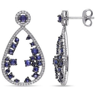 Amour 14k White Gold Sapphire And 25 Ct Tdw Diamond Earrings G-h I1-i2