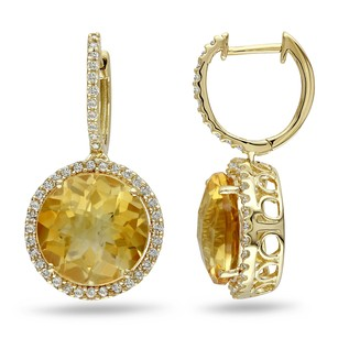 Amour 14k Yellow Gold Citrine And 12 Ct Tdw Diamond Earrings G-h I1-i2