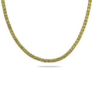 Amour 17 Silver 13 Ct Tgw Mm Round Yellow Cubic Zirconia Tennis Necklace