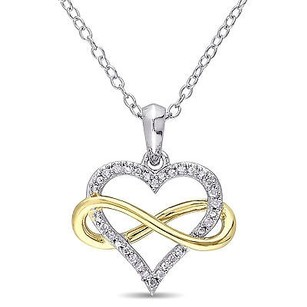 Amour 2-tone Sterling Silver 110 Ct Tdw Diamond Infinity Heart Pendant Necklace 18