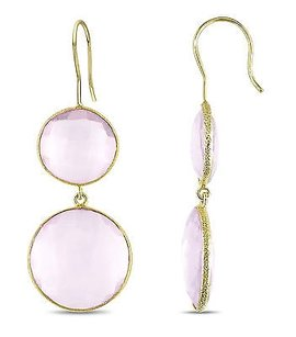Amour 22k Yellow Gold Plated Goldtone Ct Tgw Synthetic Pink Quartz Hook Earrings
