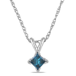 Amour Amour 10k White Gold 14 Ct Tdw Blue Diamond Solitaire Pendant Necklace 17