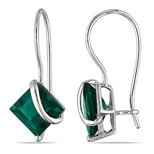 Amour Amour 10k White Gold Created Emerald Earrings