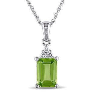 Amour Amour 10k White Gold Diamond And Peridot Pendant Necklace 17