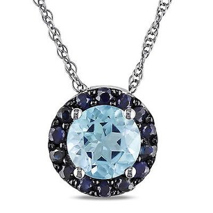 Amour Amour 10k White Gold Sapphire And Sky Blue Topaz Pendant Necklace 17