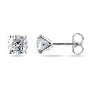 Amour Amour 14k Gold Ct Tdw Certified Round Diamond Stud Earrings G-h Vs1-vs2
