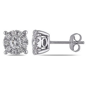 Amour Amour 14k White Gold 1 Ct Tdw Diamond Stud Earrings G-h I1-i2