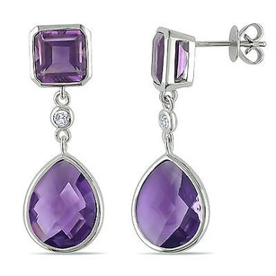 Amour Amour 14k White Gold Amethyst And 110 Ct Tdw Diamond Earrings G-h Si1-si2