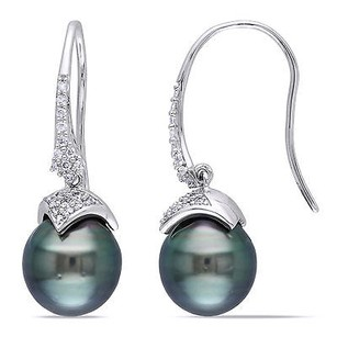 Amour Amour 14k White Gold Pearl And 14 Ct Tdw Diamond Earrings G-h I1-i2