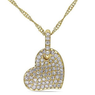 Amour Amour 14k Yellow Gold 14 Ct Tdw Diamond Heart Pendant Necklace G-h I1-i2 17