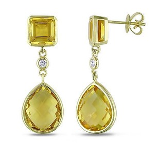Amour Amour 14k Yellow Gold Citrine And 110 Tdw Diamond Dangle Earrings G-h Si1-si2