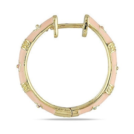 Amour Amour 18k Gold Plated Childrens Multi-color Flower Hoop Earrings