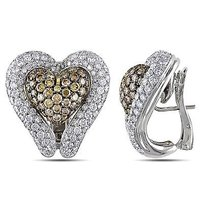 Amour Amour 18k Two-tone Gold Ct Tdw White Brown Diamond Heart Stud Earrings G-h Si