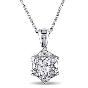 Amour Amour 18k White Gold 58 Ct Tdw Diamond Pendant Necklace E Vs1 17
