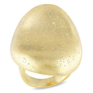 Amour Amour 18k Yellow Gold Plated Cocktail Matte And Sparkling Finishing Ring