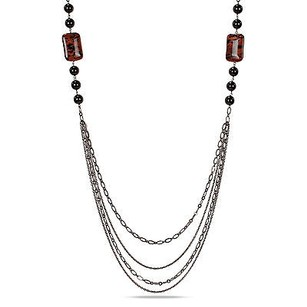 Amour Amour Goldtone Sand Stone And Onyx Bead Necklace 35 Nickel