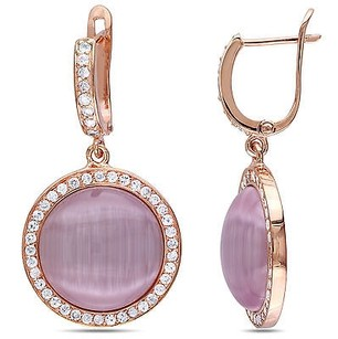 Amour Amour Pink Sterling Silver Simulated Cat Eye And Cubic Zirconia Earrings