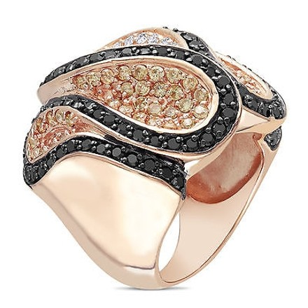 Amour Amour Roseplated Silver White And Black Cubic Zirconia Cocktail Ring