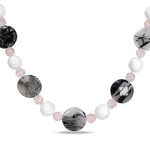 Amour Amour Silver Rutilated Quartz White Jasper And Rose Quartz Beaded Necklace 18