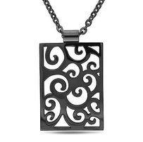 Amour Amour Stainless Steel Black Rhodium Pendant Necklace - 20