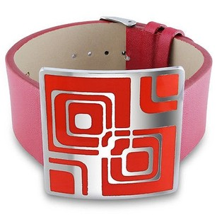 Amour Amour Stainless Steel Red Epoxy And Red Leather 7-inch Bracelet