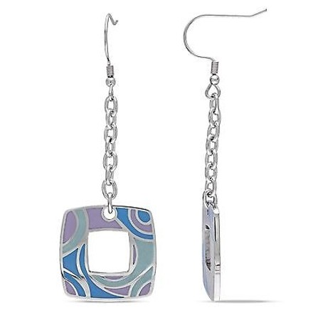 Amour Amour Stainless Steel Square Swirl With Colorful Epoxy Dangle Earrings