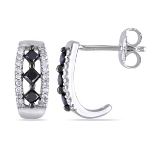 Amour Amour Sterling Silver 12 Ct Tdw Black And White Diamond Stud Earrings H-i I2-i3