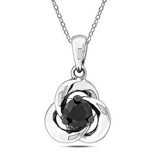 Amour Amour Sterling Silver 12 Ct Tdw Black Diamond Fashion Pendant Necklace 18