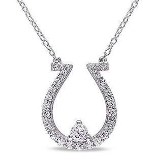 Amour Amour Sterling Silver Created White Sapphire Horseshoe Pendant Necklace 18