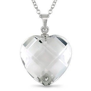 Amour Amour Sterling Silver Crystal Faceted Heart Pendant Necklace 18