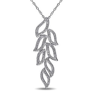 Amour Amour Sterling Silver Diamond Leaf Pendant Necklace G-h I2-i3 18