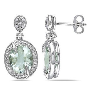 Amour Amour Sterling Silver Green Amethyst And Diamond Accent Earrings